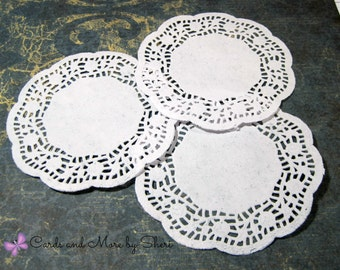 Round Paper Doilies with Roses (25)