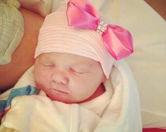 First Bow Newborn Hospital Hat (Pink Rhinestone Center) newborn hospital hat with bow, newborn girl hat, infant beanie, newborn bow hat