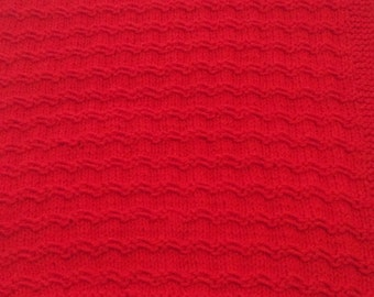 Final price drop - Hand Knit Baby / Toddler Blanket - Bright Holiday Red!