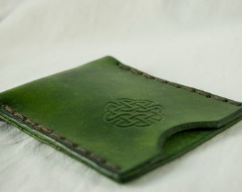 leather oyster card holder with celtic knot design