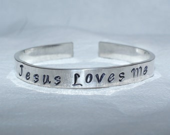 adult jesus loves me bracelet - jesus loves me - jesus bracelet - faith bracelet - faith jewelry - handstamped bracelet