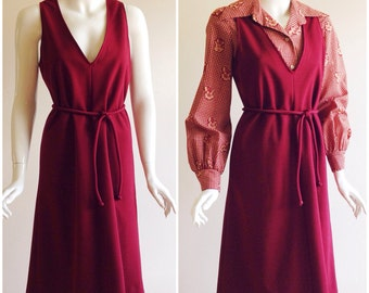 Vintage Victor Costa 1970s Merlot Blouse and Dress Set