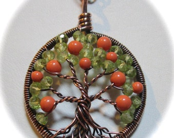 Wire Wrapped Tree of Life, Orange Blossom Tree of Life with Peridot Facet Cut Roundels
