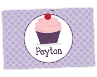 Cupcake Placemat - Personalized Placemat for Girl - Custom Kids Placemat - Child Place Mat - laminated, double-sided