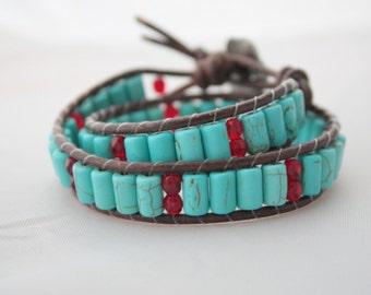 wrap bracelet - double wrap bracelet - 2x wrapped leather bracelet - howlite jewelry - ships free