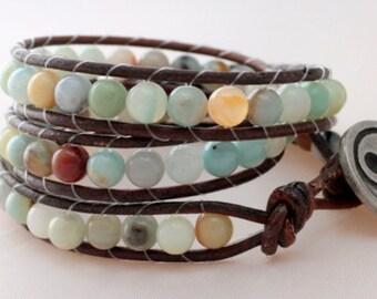 cyber Monday -leather wrap bracelet - triple wrap - 3x wrap bracelet - free shipping