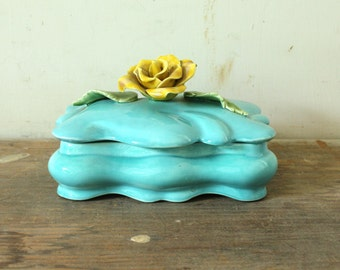 Vintage Ceramic Jewelry Box with Lid Dresser Trinket Box Turquoise with Yellow Rose Mothers Day
