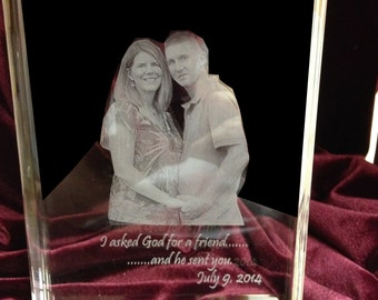 Crystal book with your photo or logo laser engraved.