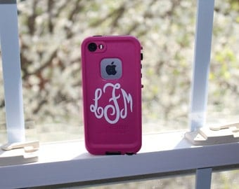 Cell Phone Monogram Decal FREE SHIPPING