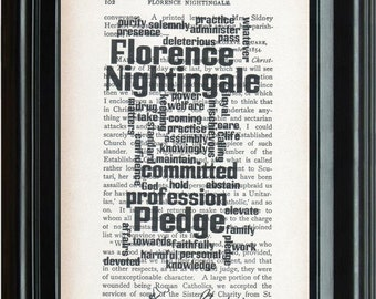 Florence Nightingale Pledge Word Cloud Nurse Gift Dictionary Vintage Upcycled Book Art Print, Home Decor, Wall Decor, Illustration