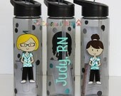 Personalized 24oz Nurse Water Bottle-  Travel Cup - Nurse's Week - Choose Your Nurse Style and Colors - Great Gift