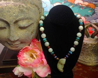 Shaman Necklace, Jade Pendant Necklace, Ethnic Jewelry, Statement Necklace, Carved Jade Frog, Beadwork, Tribal, Gemstone, Turquoise Necklace