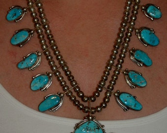Stunning Large Beautiful Vintage Navajo Sterling & Turquoise Squash Blossom Necklace