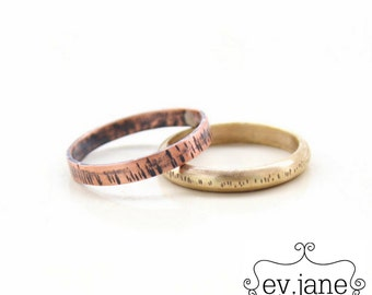 Set of 2 Slim Hand Textured Ring Copper Hand Cut Brass Wire Stacking Custom Soldered Oxidized Boho Hippie Rustic Band by evismetalwork