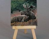 "Animal Art Original 3""X3"" Painting  ""Moose"""