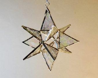"12 Point Moravian Star. Iridescent Star. 5"""