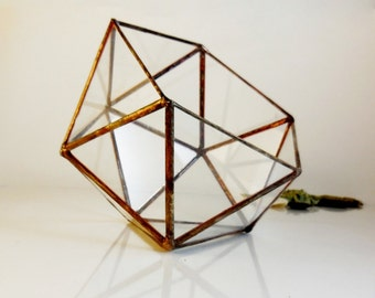 Glass Terrarium, Clear Glass Planter Geometric 3D shape, Icosahedron, Home Decor. MADE TO ORDER