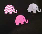 Chevron Elephant Confetti Pink and Gray 100 pieces, baby shower