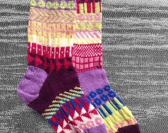 Hand Knit Unique Socks, Men Sox, Women Sox, Boho Socks, Hipster Socks, Icelandic Design, Bohemian Socks, Hand Knit Socks - Made to Order b