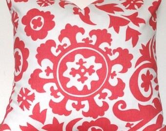 Pillow Cover, Coral Suzani Premier Print, Decorative Pillow,Toss,Throw,18x18,12x18