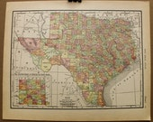 Vintage Map of Texas 1911 Original