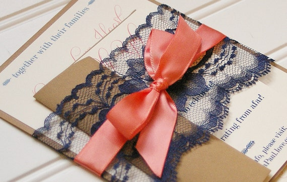 navy and coral wedding invitations navy and coral wedding invitations handmade by annalouavenue 6112