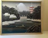 Original Signed Art Vintage Pair Japanese Silk Paintings of Mt. Fuji