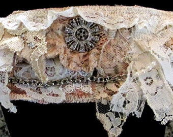 Lace Cuff Bracelet with Vintage Trim, Recycled Fabric - Steampunk, Victorian
