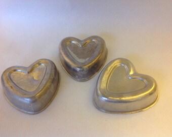 3 Vintage Aluminum Heart Toy Pans/Jello Molds