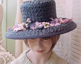 Charming Vintage Navy Straw Hat with Pink Chenille Posies