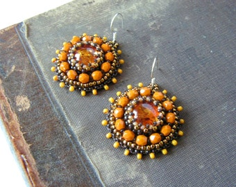 Beadwork Earrings Bead embroidery earrings Yellow dangle Earrings Amber Earrings Honey Yellow Earrings Bead embroidery jewelry MADE TO ORDER