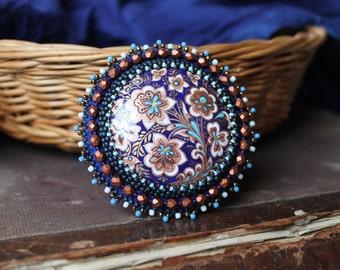 Folk Style Brooch Bead Embroidery Brooch Beadwork Brooch Flower Brooch Blue Copper Brooch Hand Painted Brooch Cabochon Brooch MADE TO ORDER