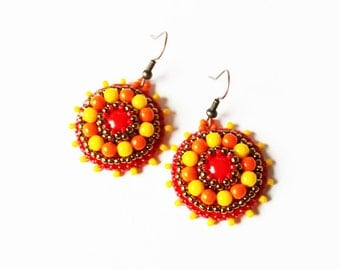 Bead embroidery Earrings Red Orange Yellow Earrings Beadwork Earrings Colorful dangle Earrings Bead embroidery Jewelry MADE TO ORDER
