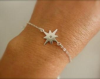 Northern CZ Star bracelet -   sterling silver northern star bracelet - silver cz northern star charm - solid 925 sterling silver