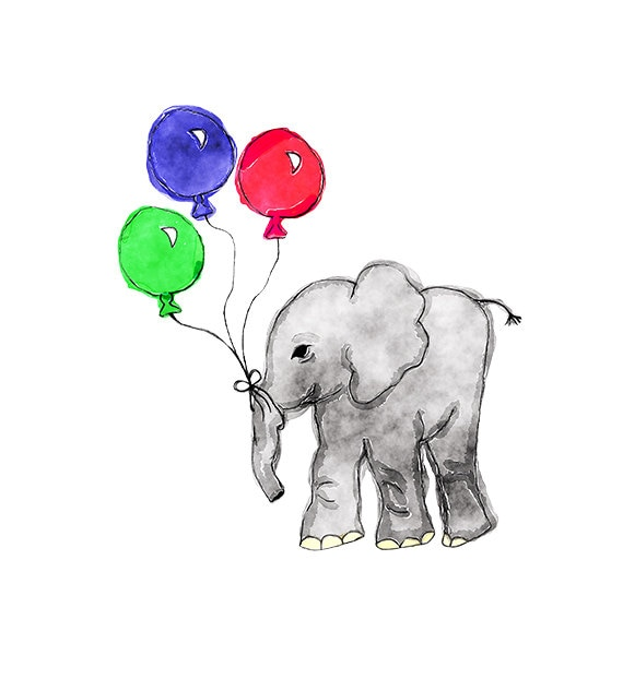 Watercolor Elephant with Balloons Illustration Nursery