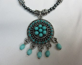 Chic Boho Southwestern Turquoise and Silver Pendant set on Hematite and Antique Silver Beaded 16 and a half Inch with Sturdy Magnetic Clasp