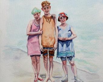 """Original Watercolor Painting: 1920 Siblings on the Beach """"Twenties Trio"""""""