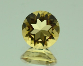 8.05 Ct Natural Yellow Citrine Gemstone Faceted Round Cut 15 mm