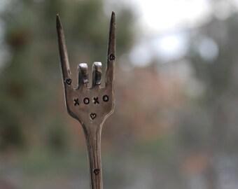 XOXO  hand stamped Vintage Silver Plate Fork ROCK n ROLL fingers Garden Marker Art