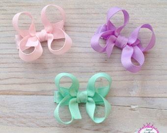 Hair Bow Set, Mini Boutique Bows, Pastel Hair Bows, Hair Bow Clips, Baby Hair Bows, Toddler Hair Bows, Child Hair Bows, Mini Hair Bows, Bows