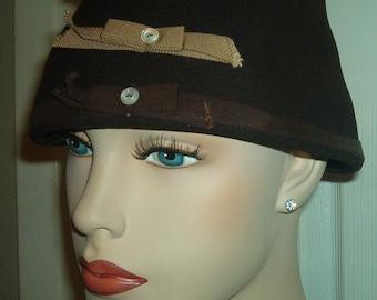 PILL BOX HAT Bow Botton Ribbon Brown Wool Bucket Cloche Glenover Avant Garde Hat Vintage