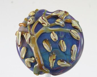Handmade Lampwork Glass Bead SRA Blue Green Purple BrownFocal LE Team, DUST Team