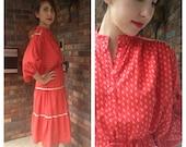 Laura Red Prairie Dress 1970s M/L