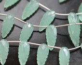 Aqua Chalcedony Carved Long Pear Leaf Shaped Briolettes, 20 x 8 mm, 1 pair GM0704FL/20/2
