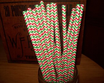 Chevron Red Green Paper Drinking Straws  25 Birthday wedding