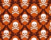 SALE- Windham Fabrics - Raven - Skulls - Orange - Choose Your Cut 1/2 or Full Yard