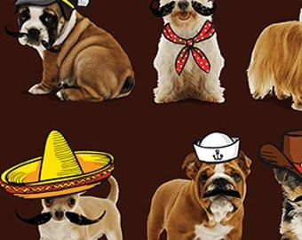 NEW - Benartex Fabric - Who's Your Doggy - Pups in Costume - Brown -Choose Your Cut 1/2 or Full Yard