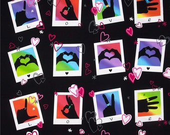 NEW - Benartex Fabric - Signs of Love - Sundry Prints - Black - Choose Your Cut 1/2 or Full Yard