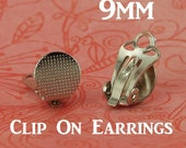 12 - 9mm Clip On/Clip-On Earring Posts/Backs with Glue Pad (6 Pairs) for Fabric Cover Button Earrings