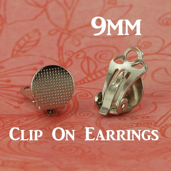 100 9mm clip on clip on earring posts backs with glue pad